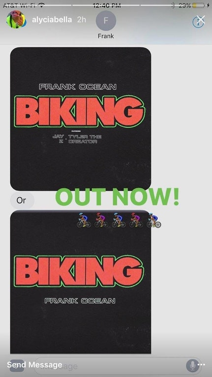 biking alycia bellamy frank ocean