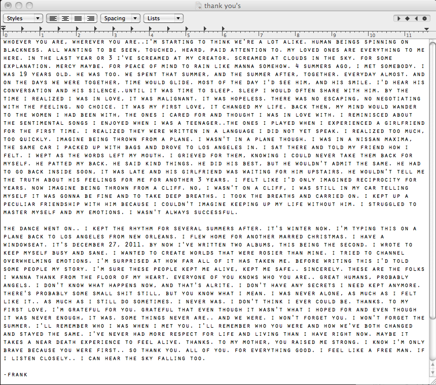 Frank Ocean Sexuality Letter