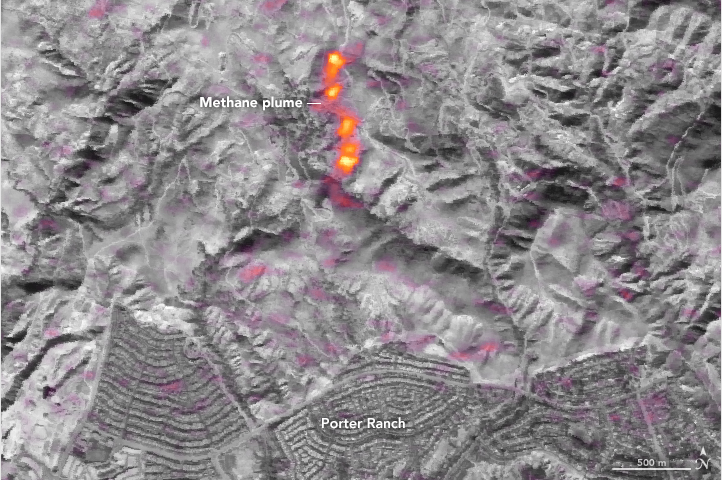 Invisible methane plume from Aliso Canyon Disaster (2016) detected from space with infrared spectrometer – but image not published until later. Photo:  NASA Earth Observatory