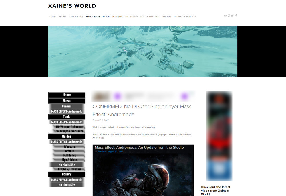 New Sidebar Navigation Added! (Page shown is Mass Effect News)
