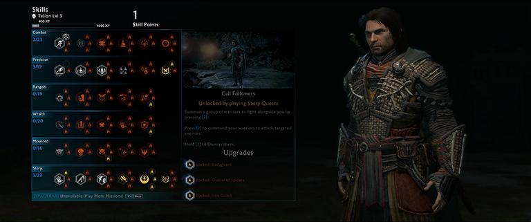 The Skills menu in Shadow of War.