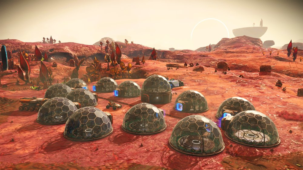 An over view of the Stasis Device farm showing the 13 Domes and their placements as well as the OCD straight line of Solar Vine.