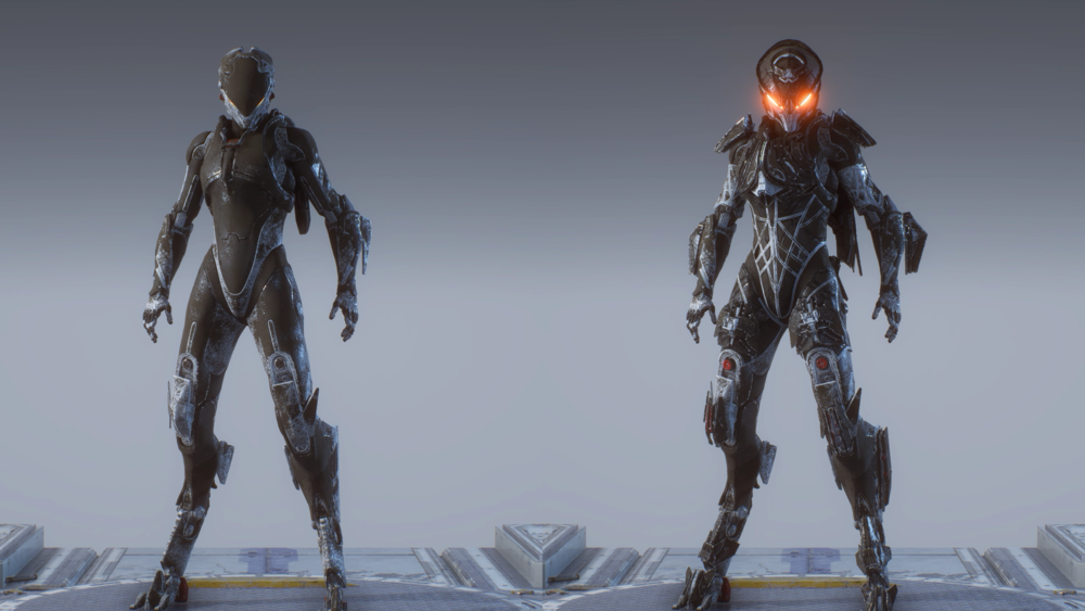 On the left is the default Armour set, it is sleek and has the appearance of super futuristic high tech polymers while the Right, which is the Legion of Dawn Armour Set for the Interceptor looks just plain mean, the detail is fantastic and I personally run my Interceptor with the default helmet and the rest Legion of Dawn.