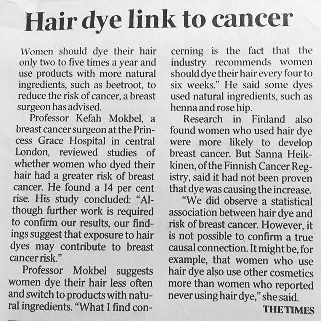 Caught this on a rare read of the paper!! #hairhealth #toxinfreehair #lookafteryourhair #haircolour #hairdye #naturalhair