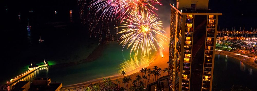 Fireworks every Friday night at 7:45pm at Hilton Hawaiian Village