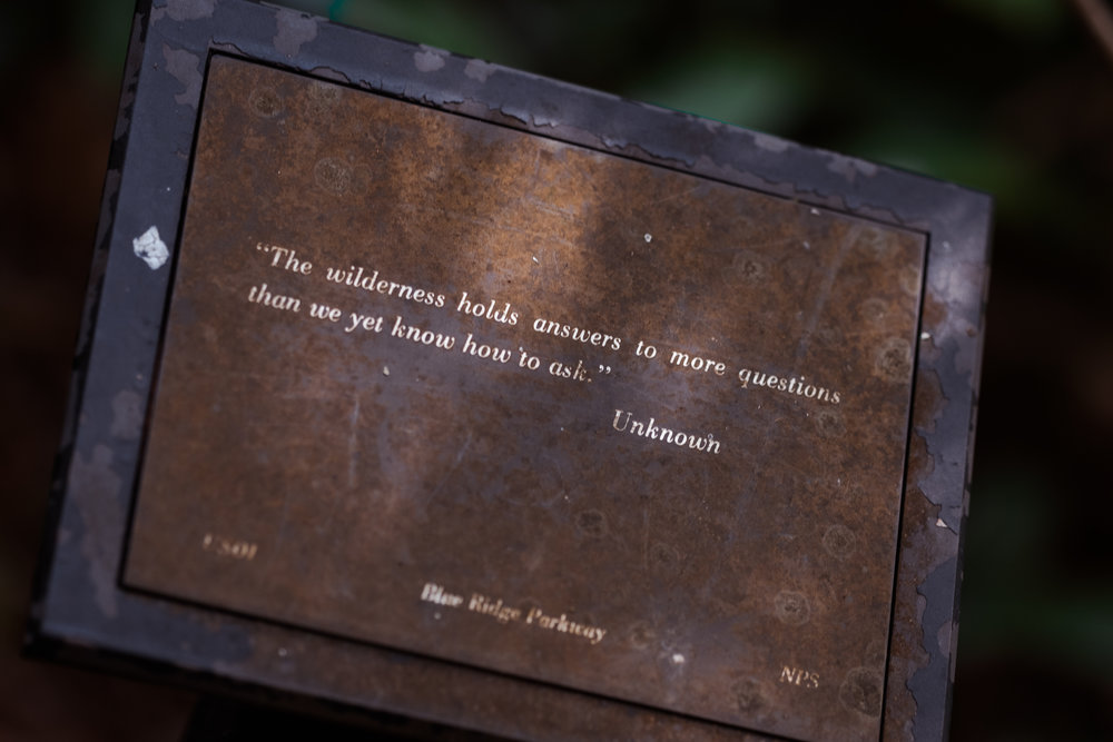One of the quotes located near the parking lot and trail head at Linville Falls, NC