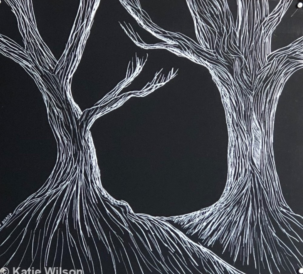 """Fairytale, 2017 5.5"""" x 6""""   And remember, never stray from the path after you pass the skinned tree."""