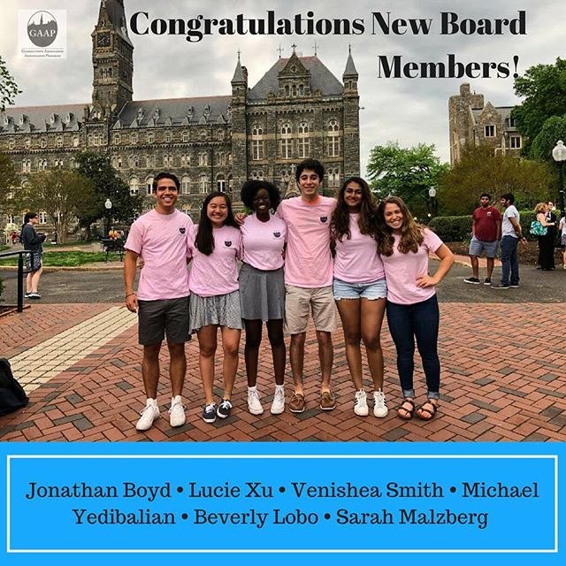 Please join us in congratulating the newest members of the GAAP Board! We are SO excited to see all that they do in the next year! #HoyaSaxa #WelcomeHome