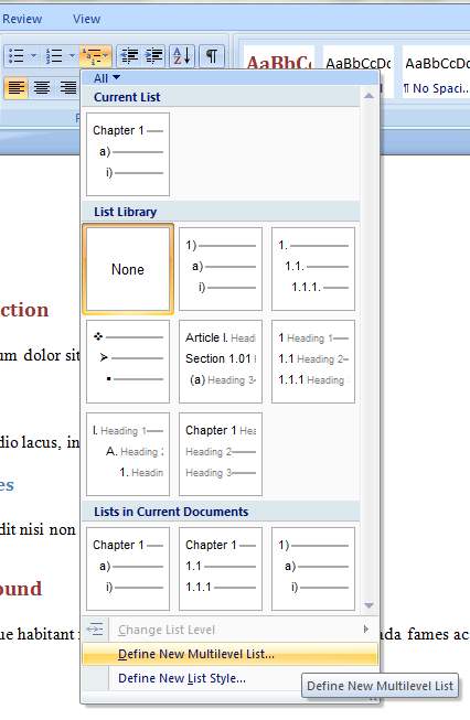 Microsoft Word 2007 Numbered Headings Done Right Pek