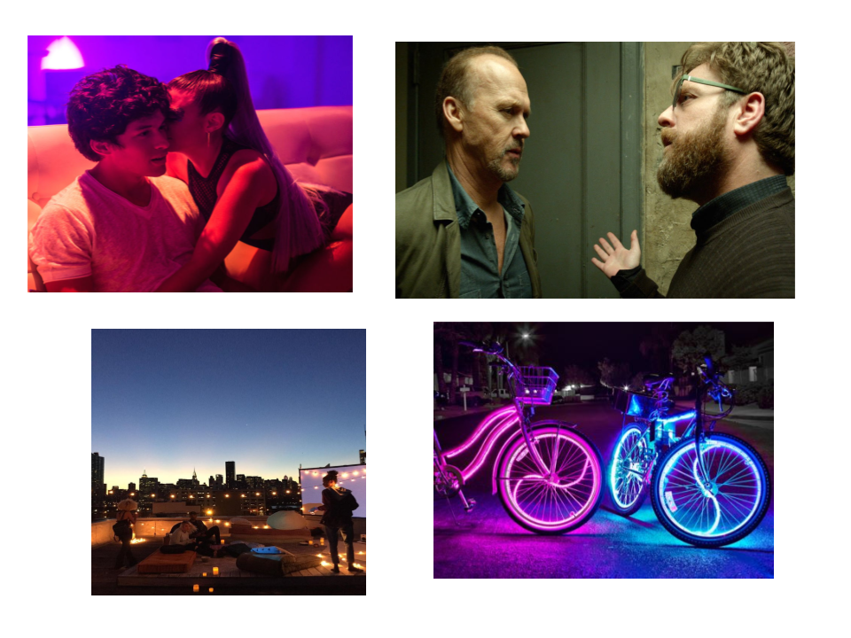 Left top to right bottom:    This image from the Netflix film, XOXO is an example of the flood of color I want to use in the nightclub scenes.    Similarly, other tones can act as a stand in for a character's uneasiness. In this shot from Birdman, the actors are close together in a tight hallway in a tense moment - but the yellows and greens are contributing to the uneasy feeling too. It's a good illustration for the stairwell scene in Revenge F, part 2, scene 5A.    I also want to create a bit of a magical feeling in   The rooftop bar scene (Part 1, scene 8).   And in the Scenes when Ken is on his bike riding around Seattle, and the Bike park scenes with neon lights(Part 1, scenes 10, 13, 14 & Part 2, scenes 4, 7A).