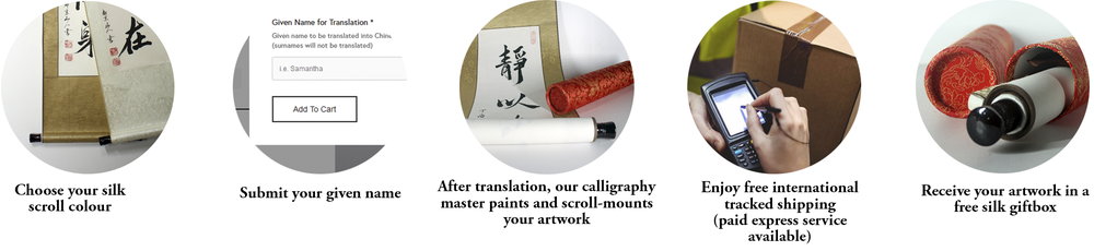 buy name translation calligraphy scroll process