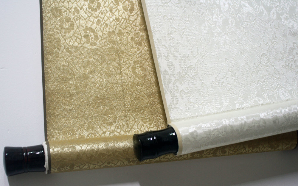 Chinese calligraphy wedding gift gold white scrolls detail