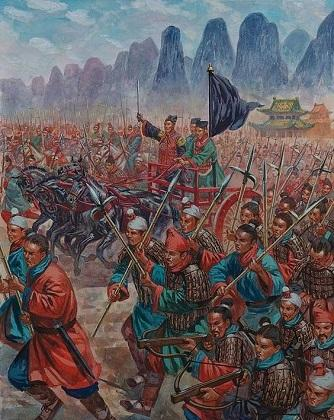 An artists depiction of the military might of the Qin dynasty.