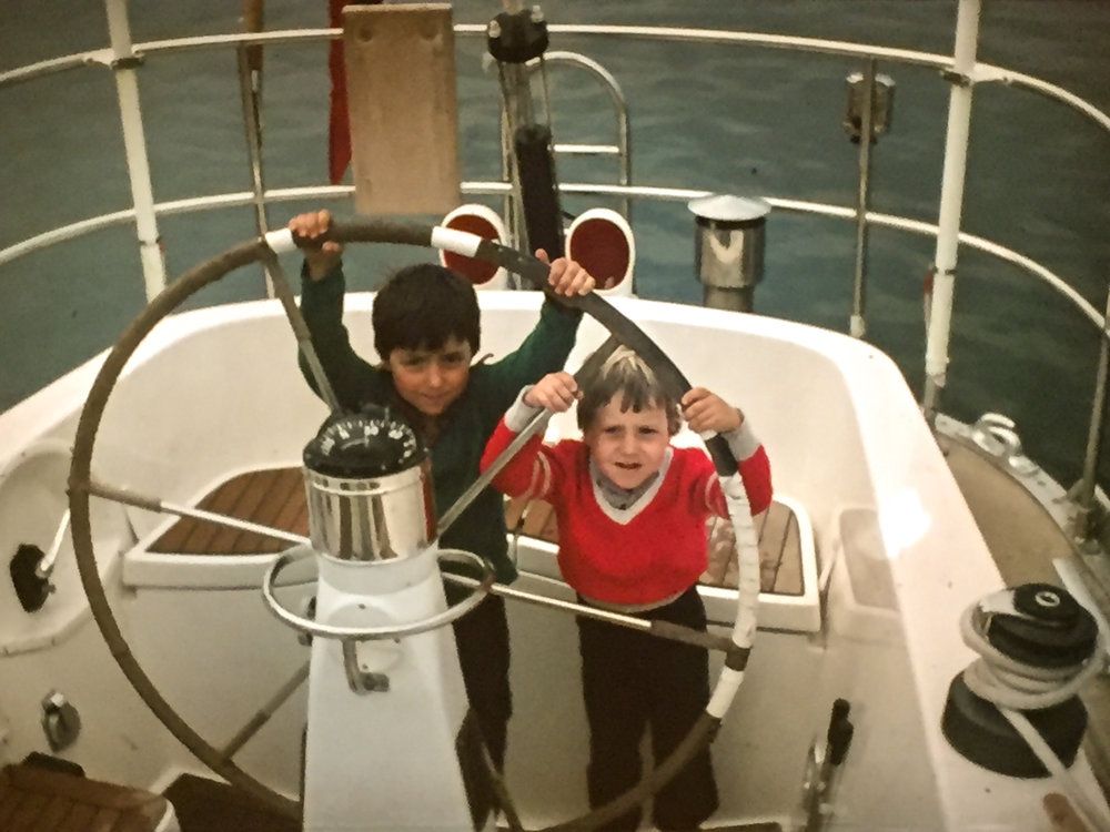 The Editor (right) behind the helm with his older brother. The S&S Swan 57, Whitbread competitor, Berge Viking in the early 1980s