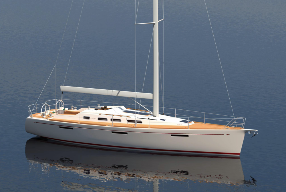The upcoming Faurby 460E. Illustration by: Faurby Yacht