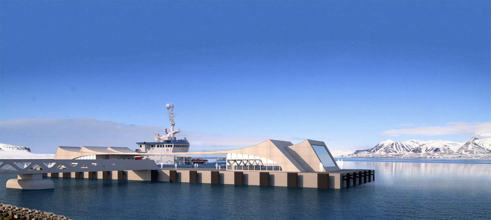 The planned floating pier in Longyearbyen. Designed by renowned Norwegian architects Snøhetta, famous for Oslo's new Opera House and the New Library of Alexandria. Photo: Snøhetta