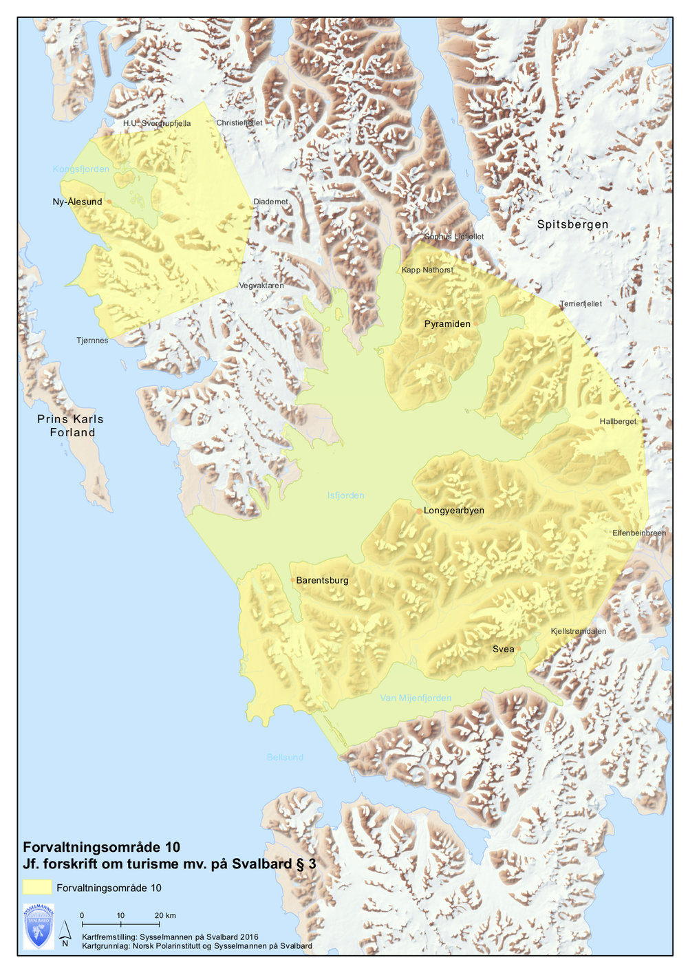 A map over area 10. Map by: The Governor of Svalbard with data from The Norwegian Polar Institute.