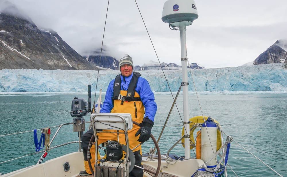 "Kari ""Ruffe"" Nurmi. Offshore sailor, filmmaker and circumnavigator of Svalbard at the helm of his fantastic little cruiser built by Bavaria"
