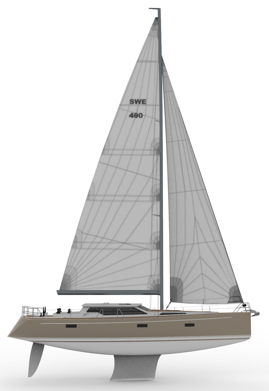 CR Yachts 490 DS sail plan. Rendering by: CR Yachts