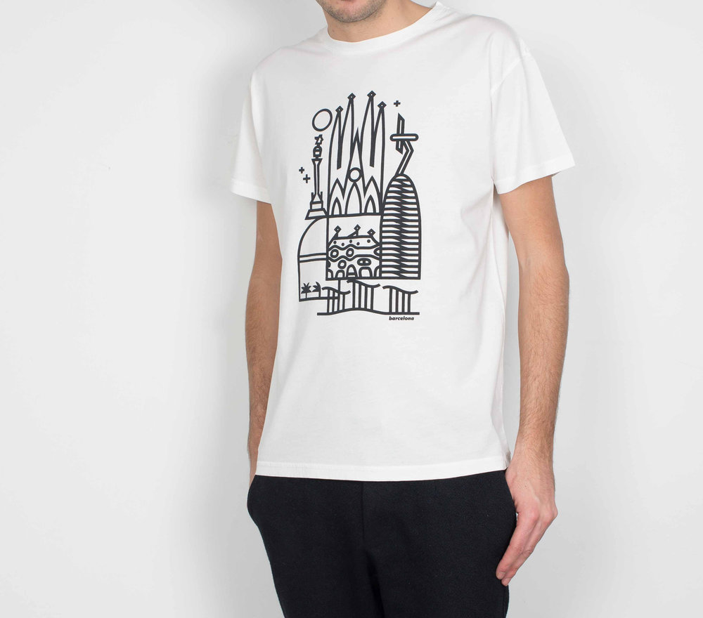 An iconic collection of city t-shirts, curated by top graphic designers in town - Skyline | Barcelona | HEY Studio