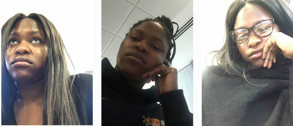 Selfies of  Ayoade  whilst working at the call centre