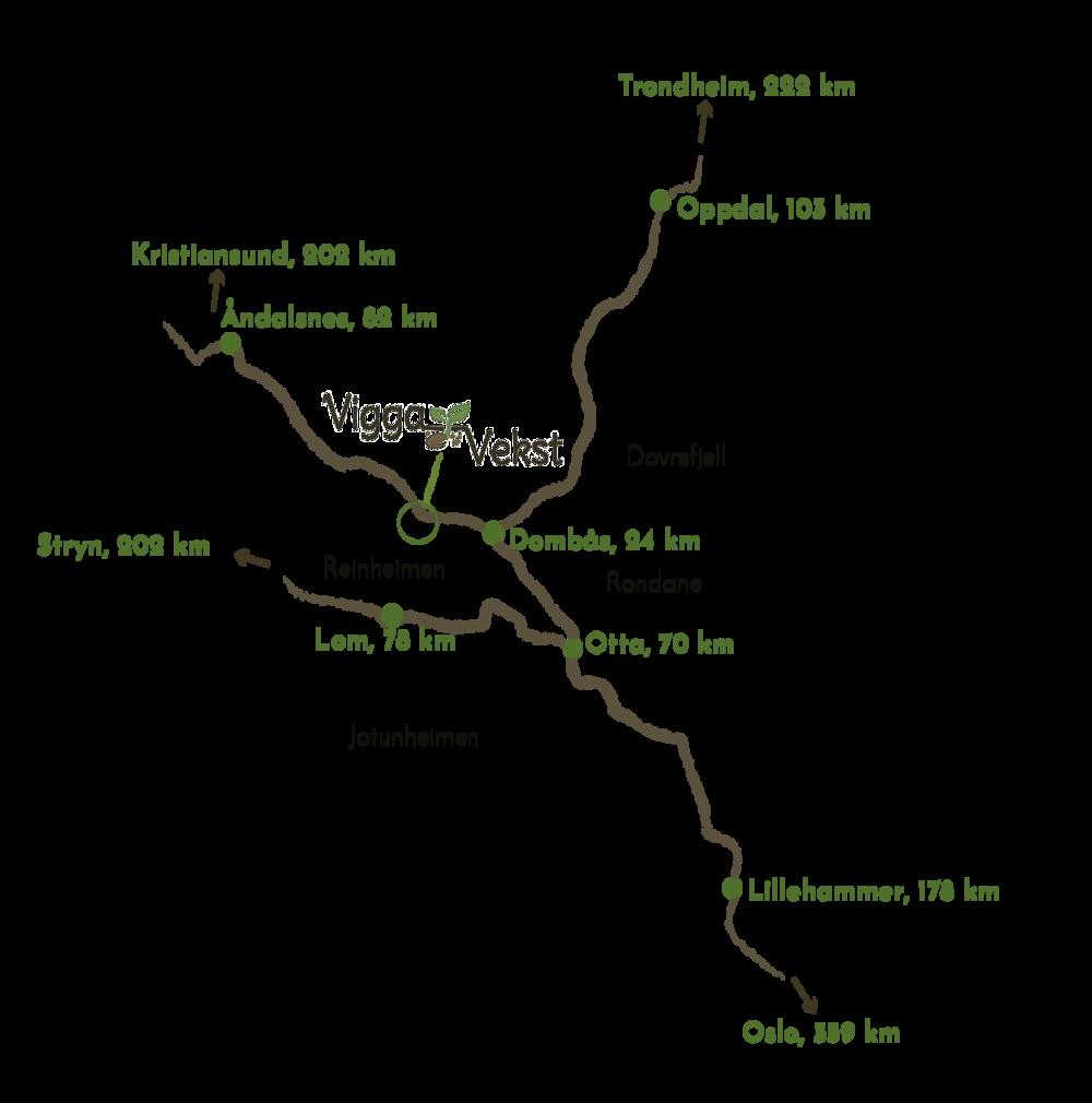 Antall kilometer er lengden langs bilveg til Vigga Vekst på Lora. Det er også mulig å ta buss eller tog til Lesja. Rull videre nedover for et mer detaljert kart.