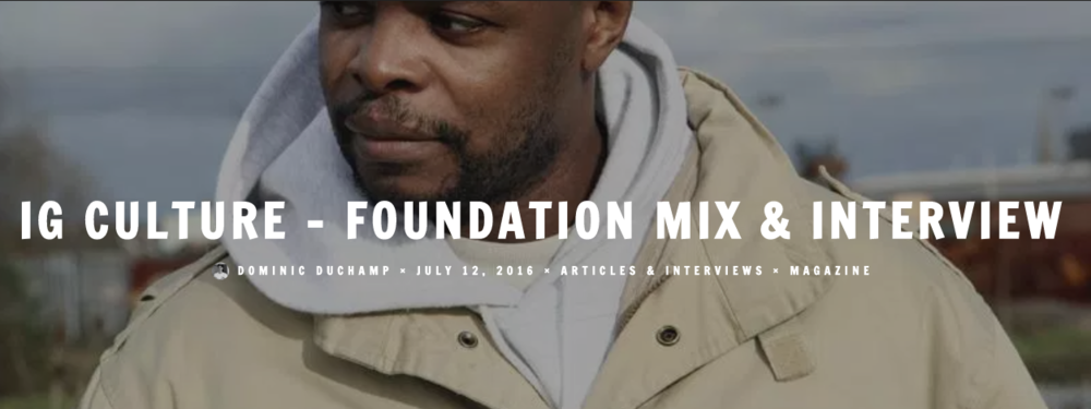 IG Culture Foundation Mix & Interview