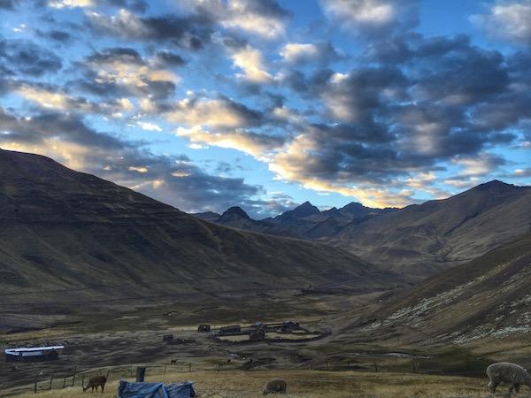 morning view hiking to rainbow mountains Peru