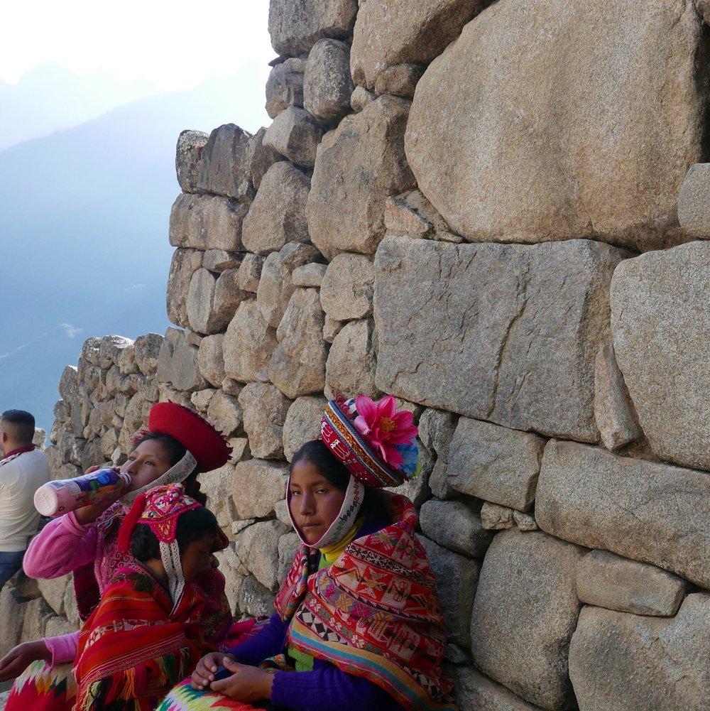 Incan women on the hike to Machu Picchu