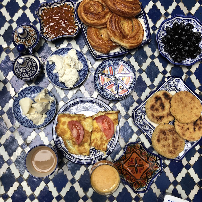 Breakfast in the Riad. Jams, jellies, olives, eggs, cheese and coffee. So much yes!!