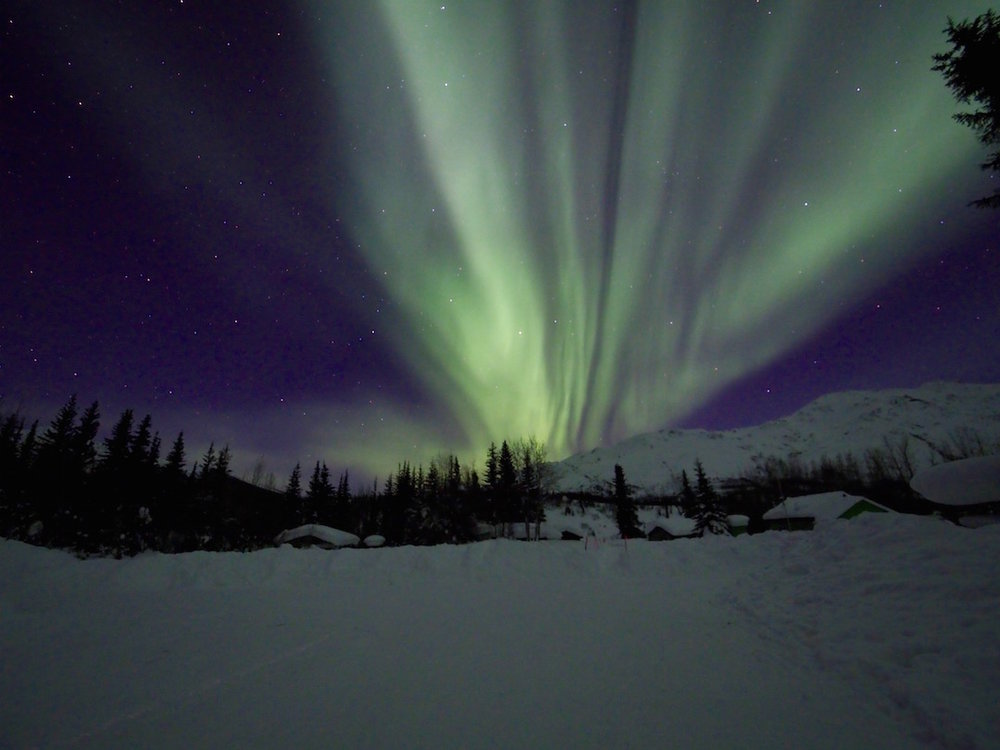 When photographing the Northern Lights open your aperture as much as possible to let the light in.