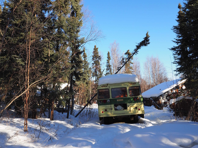 A family moved to Northern Alaska in this bus.