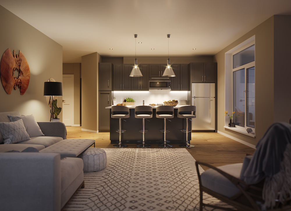 Living Room and Kitchen at Keva Flats in Exton, PA