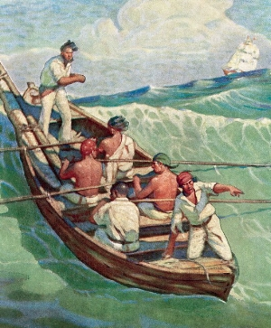 A hardworking team - Centuries ago, American whalers including Captain Starbuck and his sons traveled the seas in search of their prize. Success often depended upon the skill and endurance of just a handful of hardworking souls. A small but effective team made all the difference.