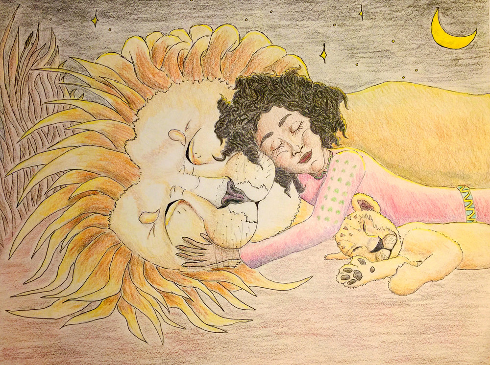 """Semhar Sleeps With Lions - Semhar sleeping sweetly with the lions, who the villagers are afraid of. From """"Semhar and the Lion."""" Pencil and pen outline with colored pencil fill."""