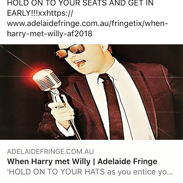 "@ADLfringe #adelaidefringe I will be a special guest and collaborating with Will to perform with a 22 piece Big Band! Tickets are on sale now. Go to www.adelaidefringe.com.au  and search for ""When Harry Met Willy"". Will is a huge fan of Harry Connick Junior and Has created a show that will be filled with lots of love of his music! We love jazz and LOVE singing with a big band! We have two shows March 4th & 8th. I'm really excited! #jazz #soul #bigband #jazzitup"