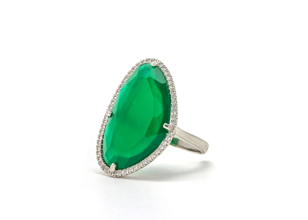 eb403cbb4 Asymmetric silver ring - Green Swarovski crystal ring surrounded with white  zircons