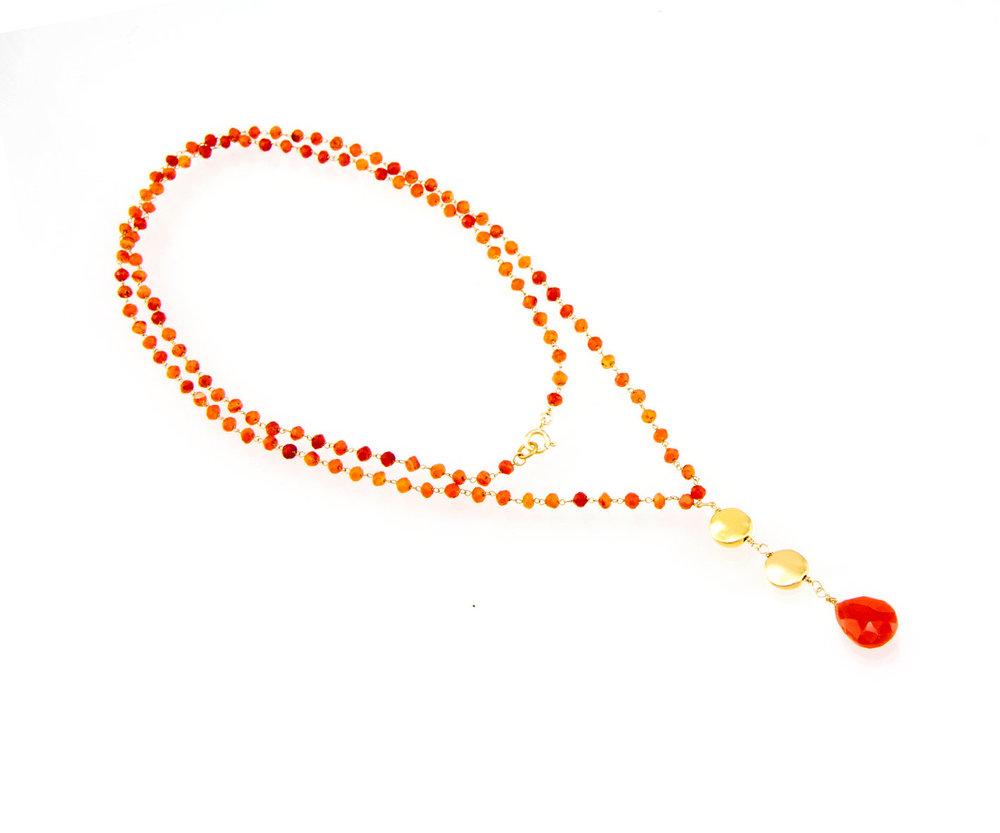 Orange carnelian bead necklace gold and orange drop pendant orange carnelian bead necklace gold and orange drop pendant necklace long carnelian necklace birthday gift idea aloadofball Choice Image