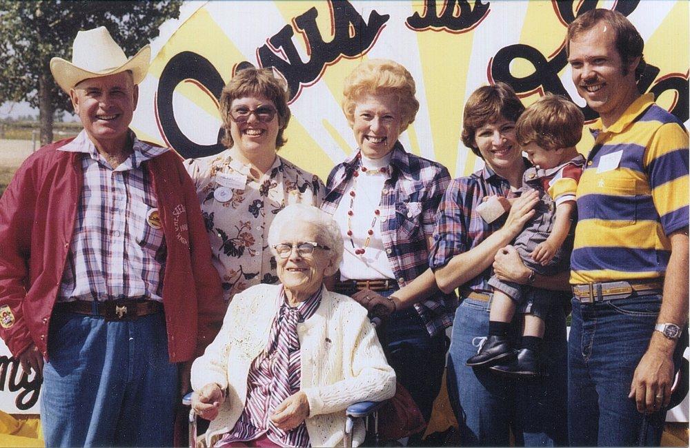 1980-at Langdon's church 50th ann. Vince & Blanche  with Grandma Dorothy, Doug & Patty, Dan, and Wendy.jpg