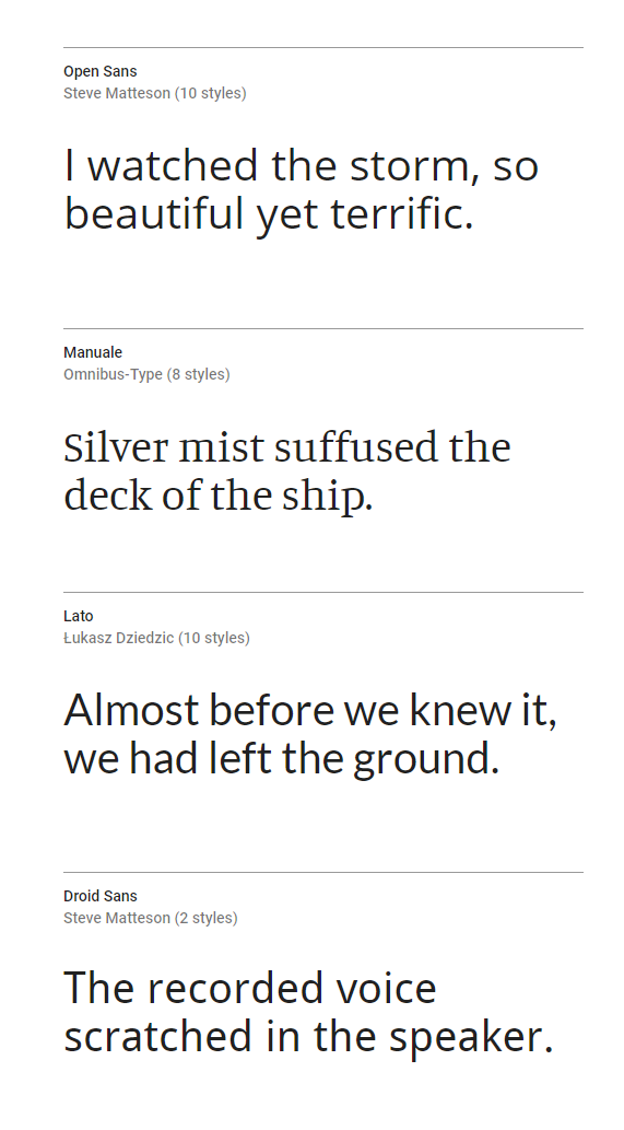 Some selected typefaces from Google Fonts