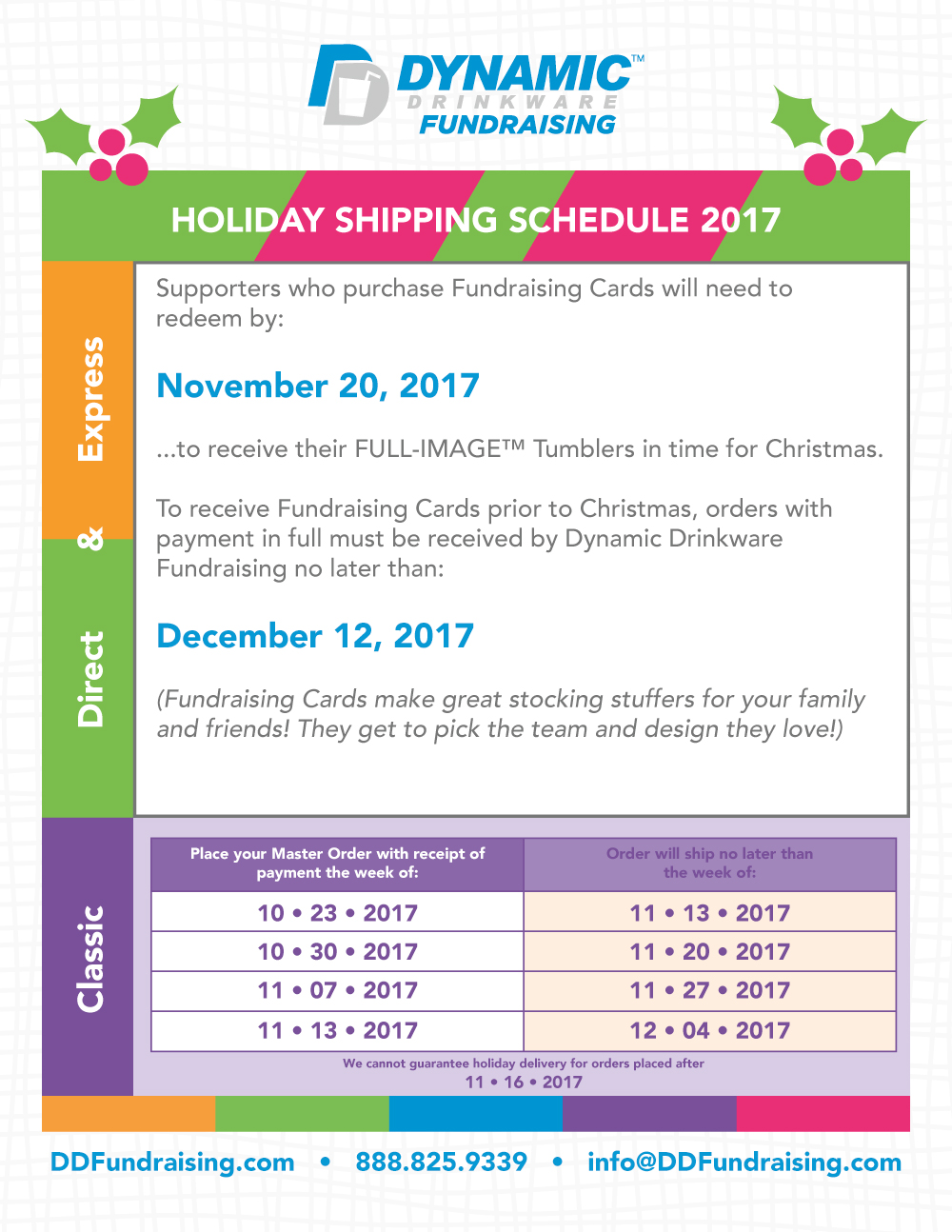 Dynamic Drinkware Fundraising 2017 Holiday Shipping Schedule