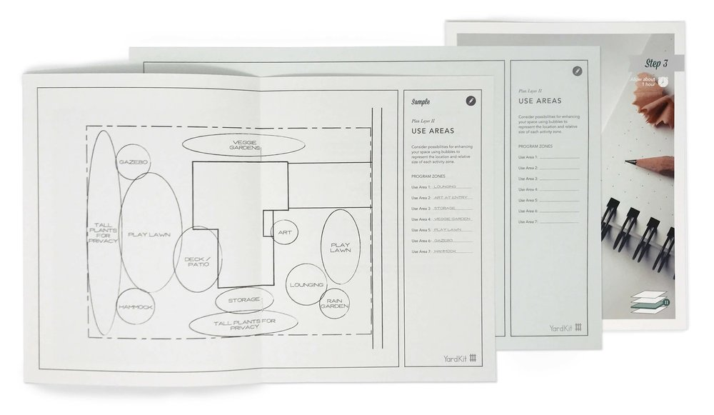 Step 3: Use Areas - Think about how you and your family would most like to use your yard. Do you like to host, want an area for an outdoor kitchen, or need a play space for your children? Considering these all in parallel creates a cohesive design that will work with your space — no matter its size.About 60 minutes
