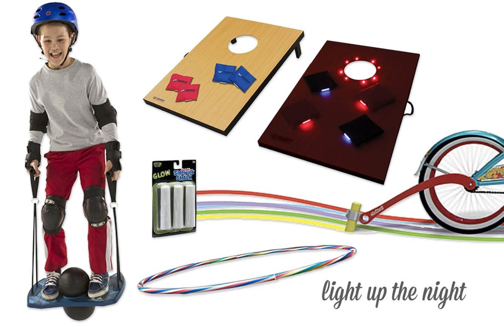 LED Sky Board / LED Bean Bag Toss / Light-Up Hula Hoop / Glow Chalk + Bike Trail Kit