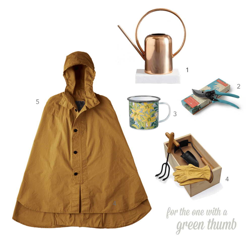 01   West Elm  Modern Copper Watering Can  $69  02   Burgon and Ball  RHS Chrysanthemum Secateurs  $34*  03   Wild & Wolf  V&A William Morris Bower Enamel Mug  $11.95  04   Frontgate  Classic Garden Tool Set  $119  05   Postal Co  Rain Cape  ¥41,040