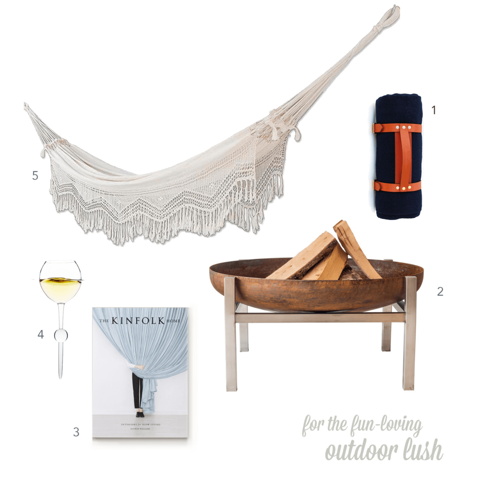 01    The Henry David Throw  with carrier from Kauffman Mercantile $89  02   Curonian Modern  Parnidis Fire Pit  $39  03   The Kinfolk  Home  edition $35  04   Uncommon Goods  Stake Outdoor Wine Glasses  $19.99  05   NOVICA  Handmade Natural Cotton Hammock  $89.24*