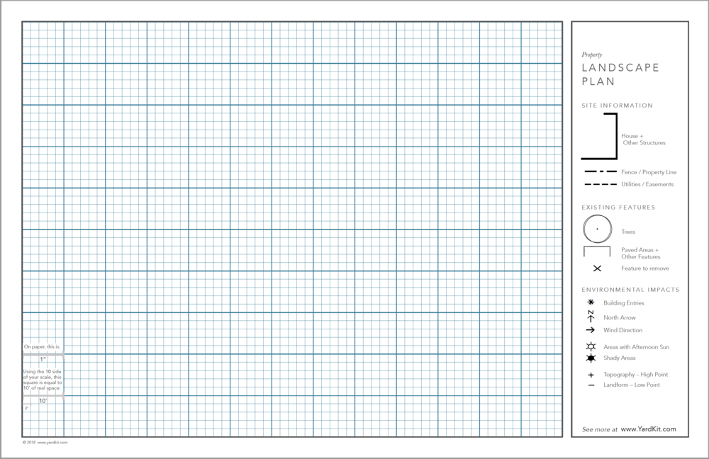 "Blank Base Plan - Draw your landscape plan on this blank sheet, with 1""=10"