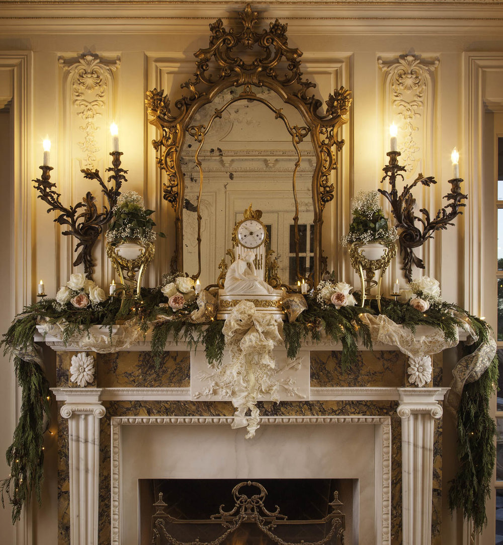 Floral Garland Mantel Holiday Design by Jennifer Chapman