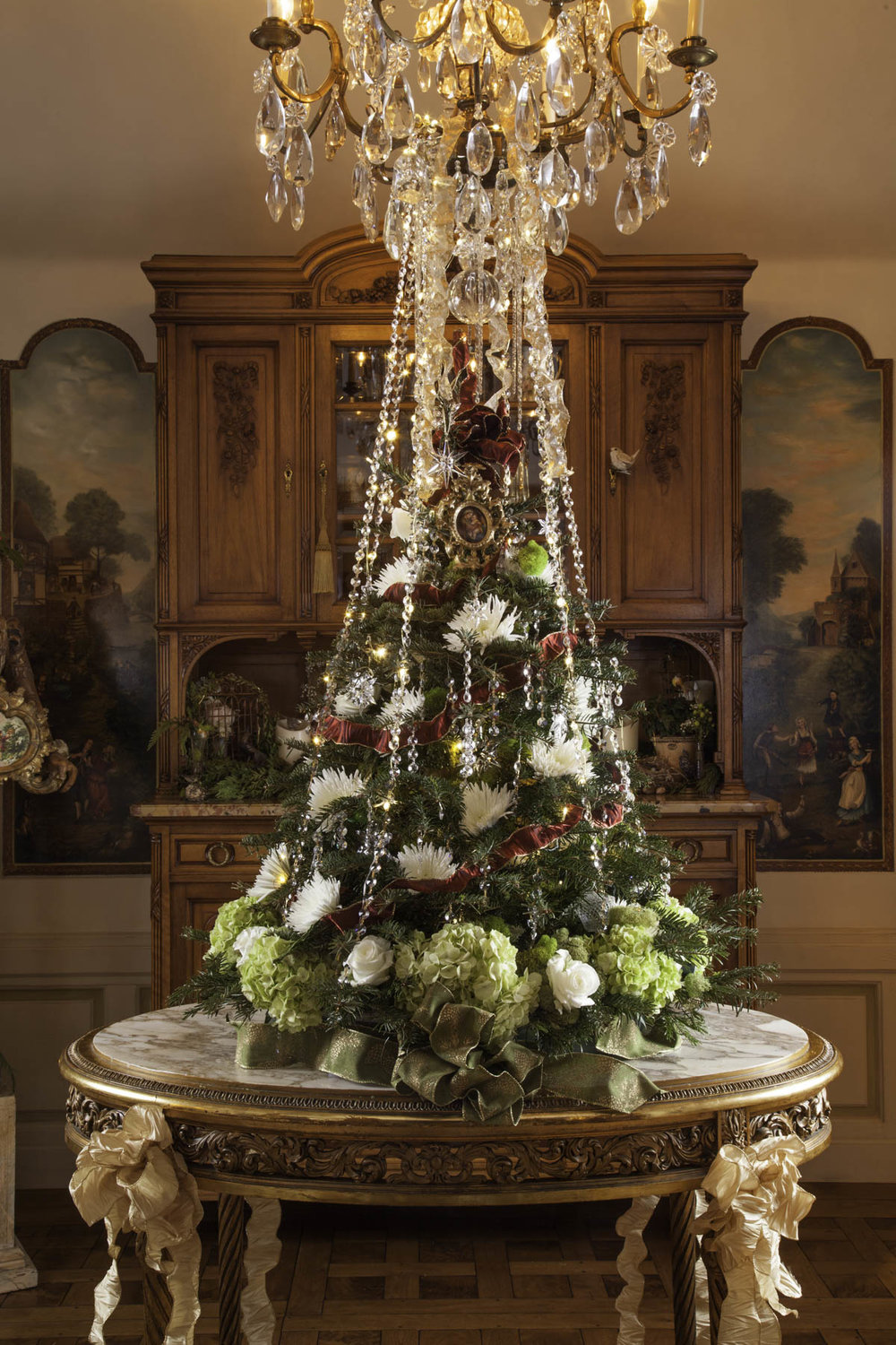 Floral Ornament Christmas Tree Holiday Design by Jennifer Chapman