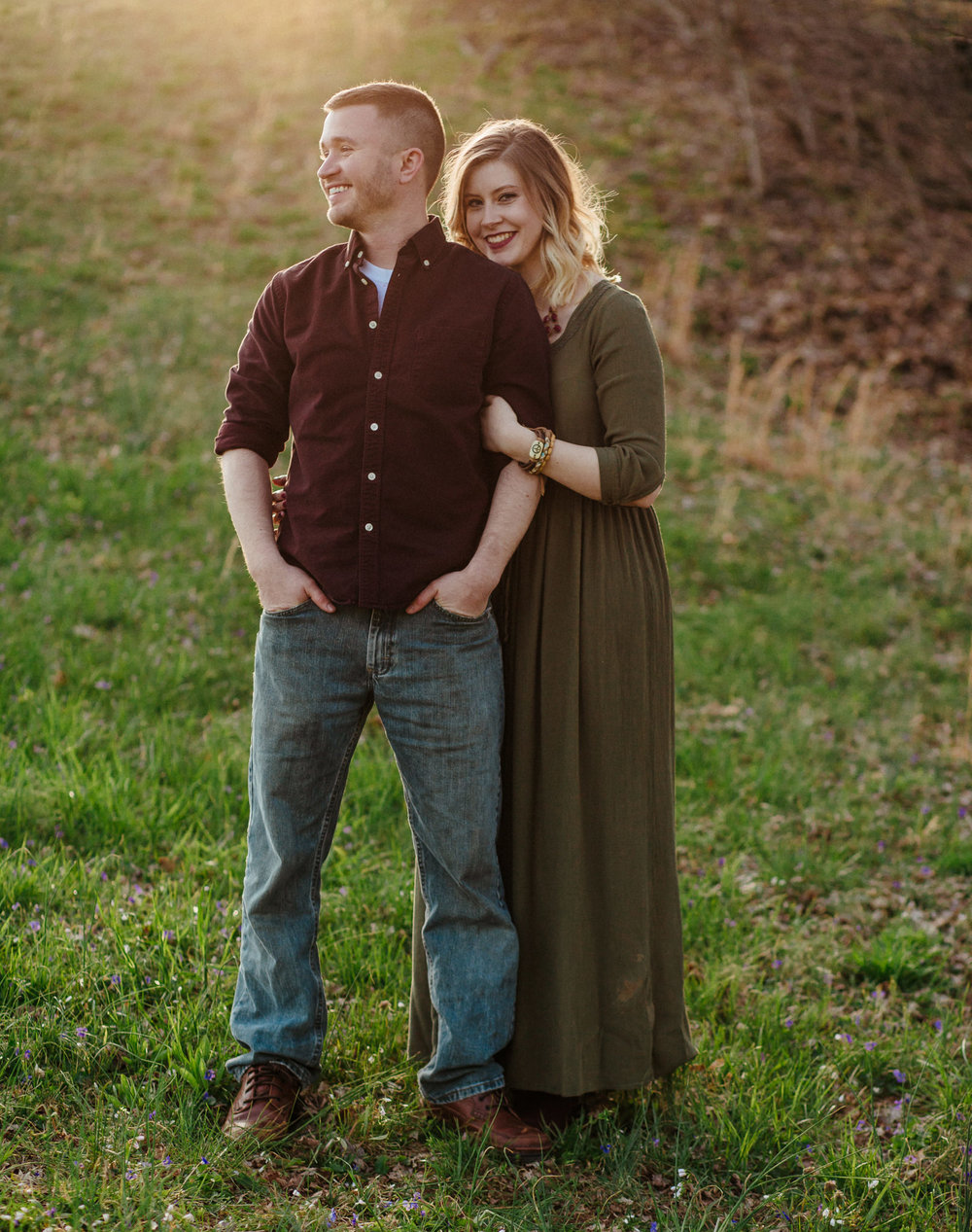 gorgeous couple at sunset in the knobs indiana
