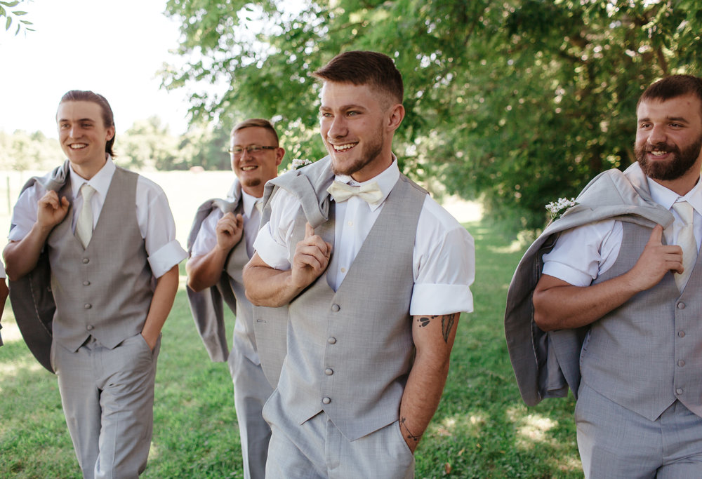 Grooms walking- wedding at walnut grove
